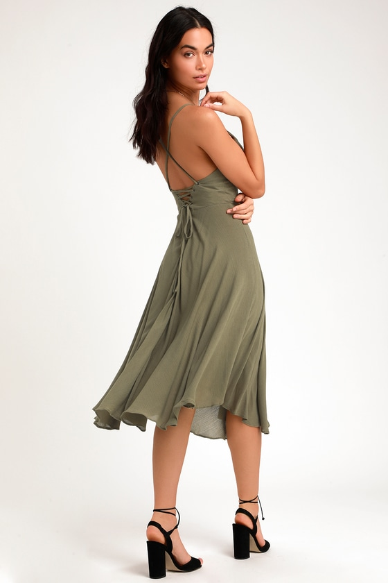 7cb9a0bace70 Chic Olive Green Midi Dress - Lace-Up Dress - Lace-Up Midi Dress