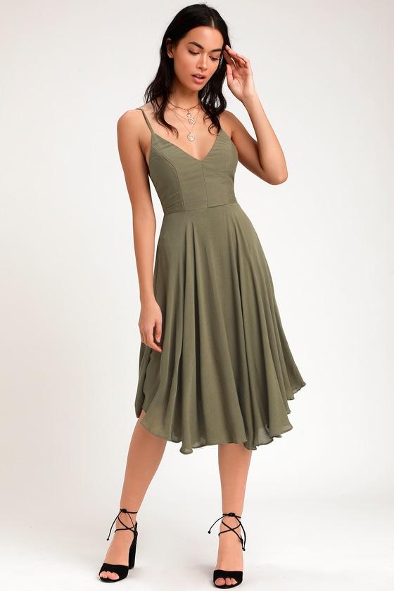 7717e6ad4c80 Chic Olive Green Midi Dress - Lace-Up Dress - Lace-Up Midi Dress