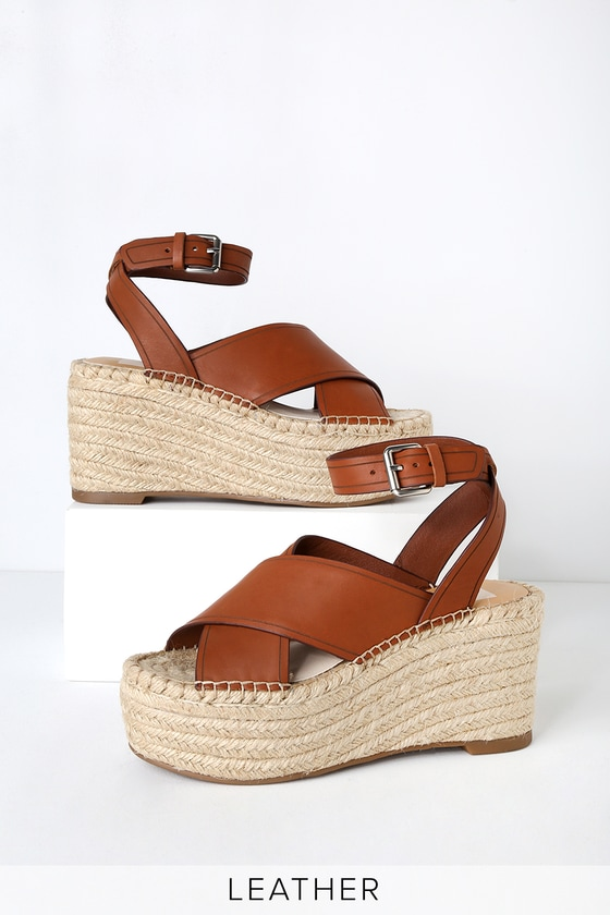 f327ac899f6f9 Dolce Vita Carsie - Brown Leather Sandals - Espadrille Wedges