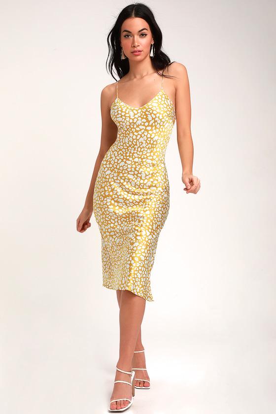 08b89d07b37 Cute Mustard Yellow Print Dress - Satin Dress - Midi Dress