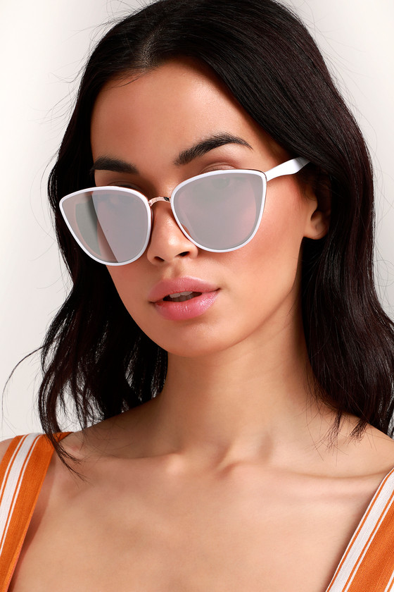 Garza White And Rose Gold Sunglasses by Lulus