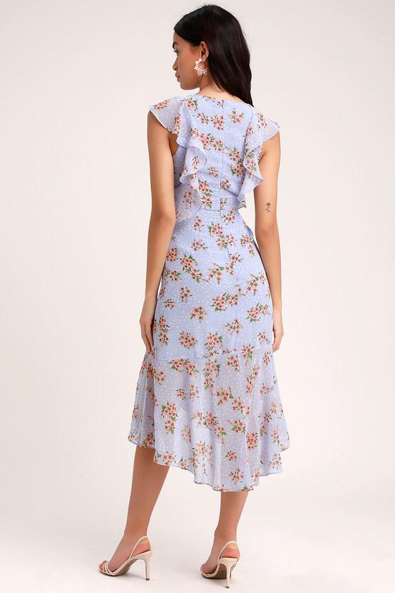 9b481a3e3 Lovely Periwinkle Floral Print Dress - Ruffled Dress - Midi Dress