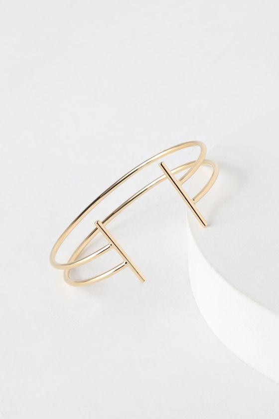 7c8f41c54 Chic Gold Bracelet - T-Bar Bracelet - Cuff Bracelet - $14.00