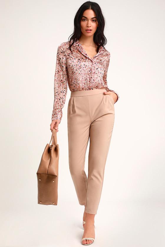 60fae2de8baa Zarilla Blush Multi Leopard Print Long Sleeve Button-Up Crop Top