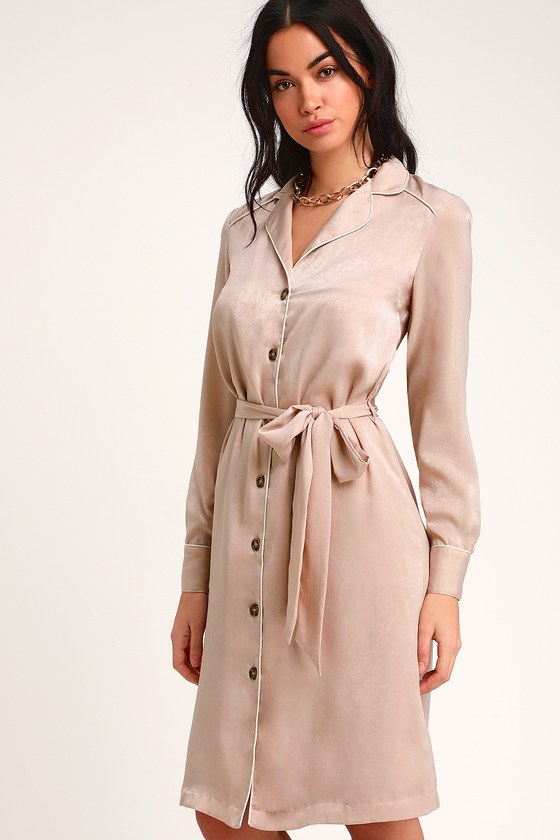 Cute Blush Dress - Shirt Dress - Midi Shirt Dress - Satin Dress 48d9741e48fd
