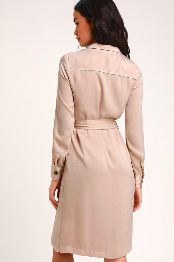 bab04d2cba6f Cute Blush Dress - Shirt Dress - Midi Shirt Dress - Satin Dress