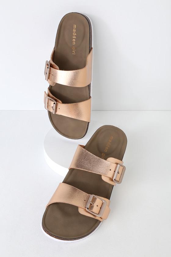 ddb383990e208 Madden Girl Brando - Rose Gold and White Buckled Slide Sandals