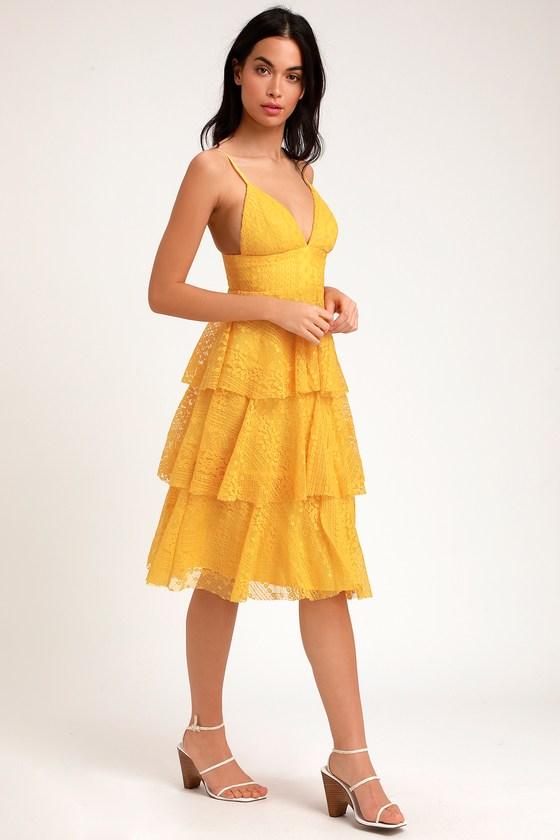09415c90c83 Cute Yellow Dress - Lace Dress - Midi Dress - Ruffled Dress