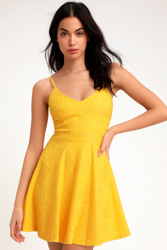 Way With Words Yellow Lace Skater Dress