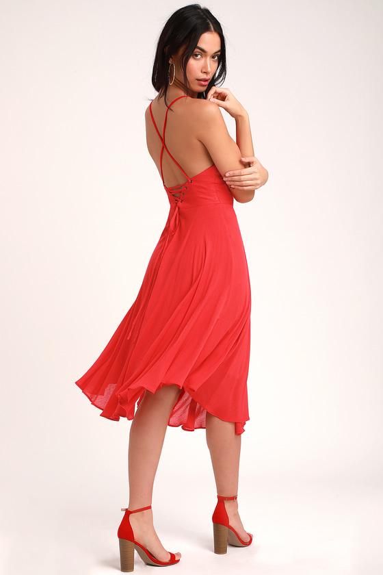 Red Chiffon Backless Dress