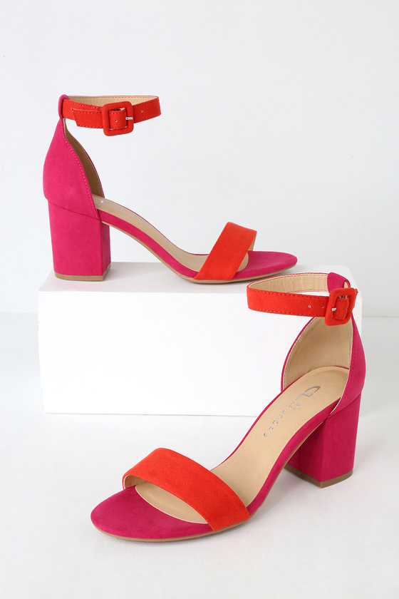 1b5e0617847a CL by Laundry Jody - Orange and Hot Pink Suede Ankle Strap Heels