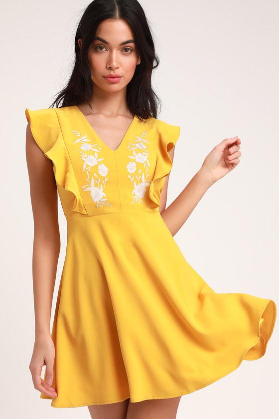 f925f96354b Cute Yellow Dress - Embroidered Dress - Skater Dress - Dress