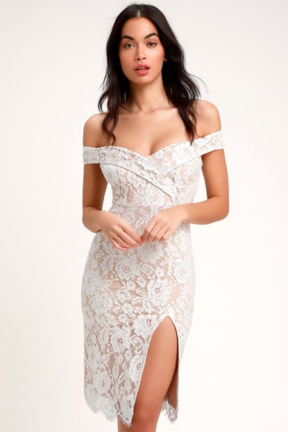 Table for Two White Lace Off-the-Shoulder Midi Dress - Lulus