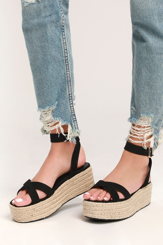 62f20e03ca9 Cute Black Espadrilles - Espadrille Sandals- Platform Sandals