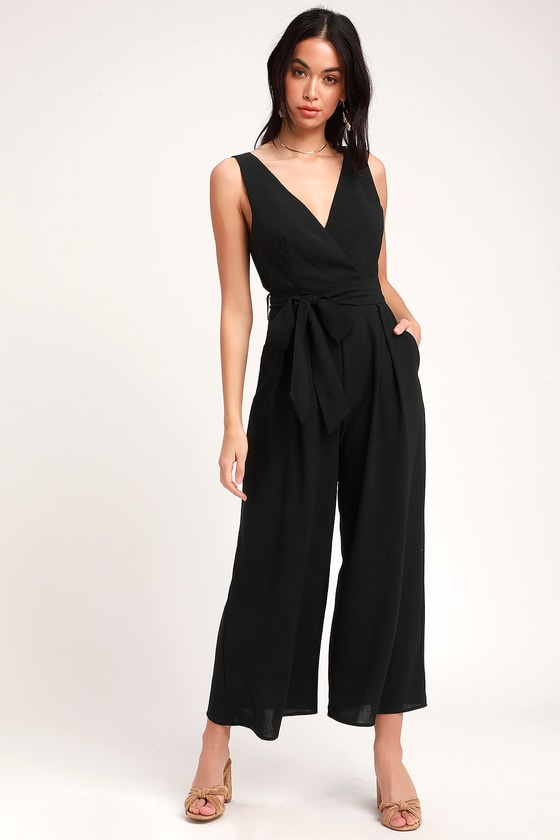 Lupita Black Sleeveless Culotte Jumpsuit by Lulus