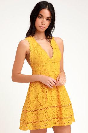 ed635a0d669 Cute Skater Dress - Lace Skater Dress - Golden Yellow Lace Dress