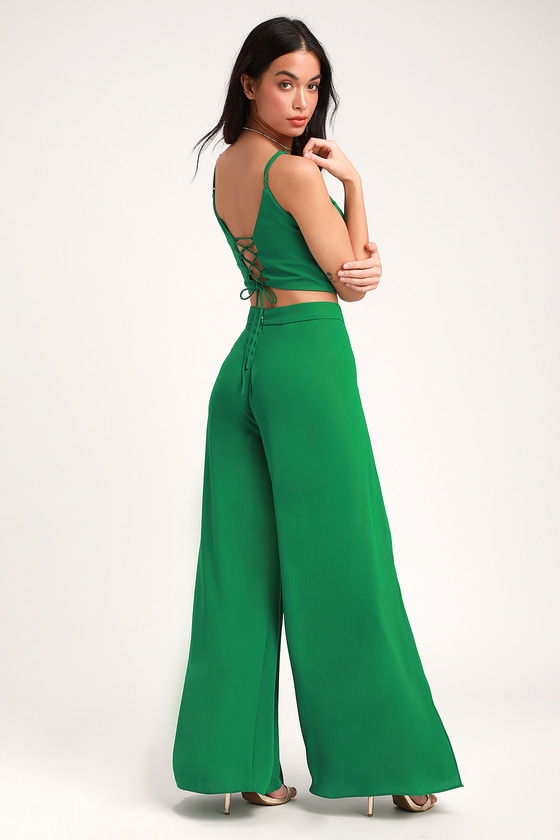 8d0e96a54d4 Chic Green Jumpsuit - Two-Piece Jumpsuit - Lace-Up Jumpsuit