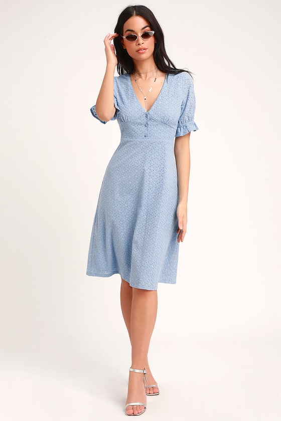 548ccd69fee Cute Light Blue Dress - Eyelet Lace Dress - Midi Dress - Dress