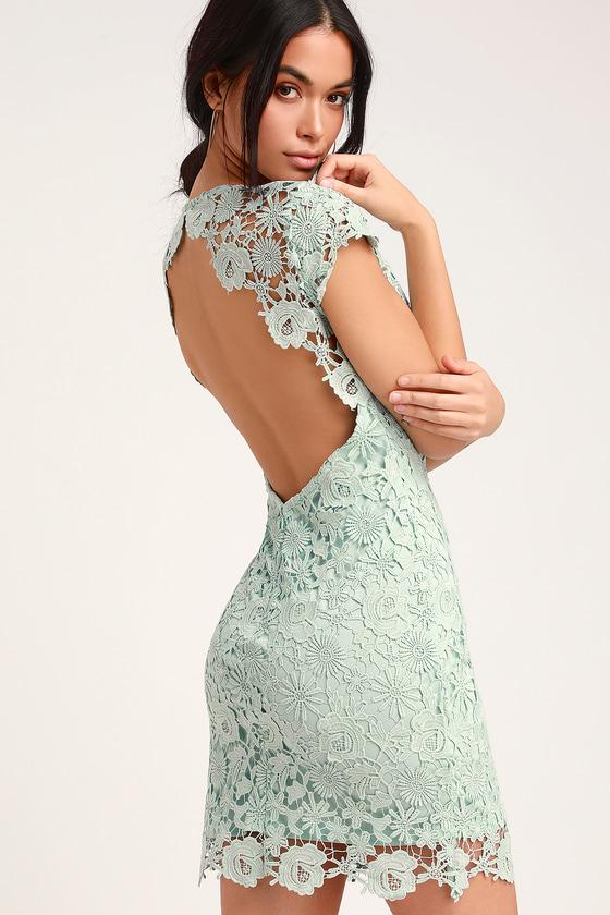 3d98758368b3 Chic Sage Lace Dress - Backless Lace Dress - Lace Mini Dress