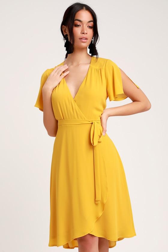 346bf1593986 Lovely Golden Yellow Wrap Dress - Midi Wrap Dress - Midi Dress