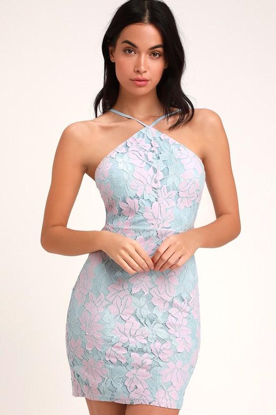 a2331ff4fd2a Cute Light Blue and Pink Dress - Lace Dress - Mini Dress