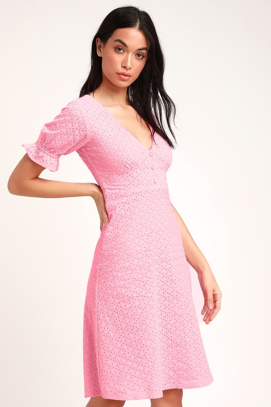 b2e98d3889 Cute Pink Dress - Eyelet Lace Dress - Midi Dress - Dress