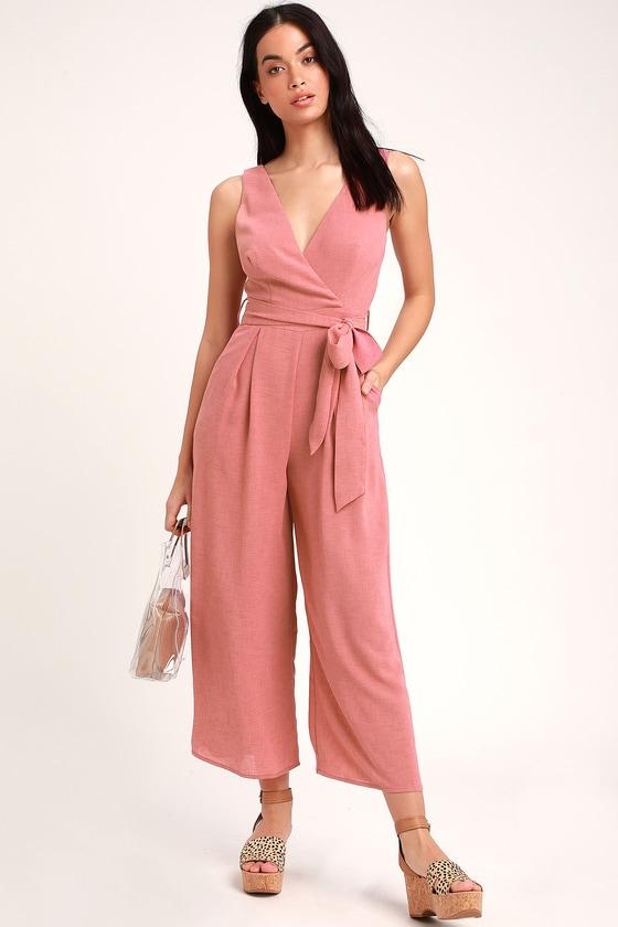 9ae42d25a11d Cute Rusty Rose Jumpsuit - Sleeveless Jumpsuit - Culotte Jumpsuit