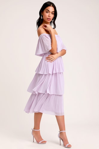 a3a6209a3ae Gala Ready Lavender Off-the-Shoulder Ruffle Midi Dress