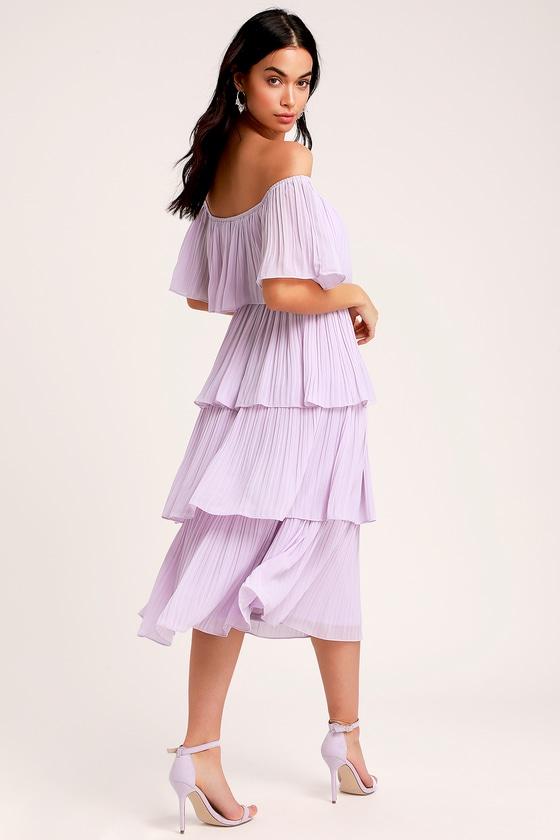 73e0cfe35 Chic Lavender Dress - Midi Dress - OTS Dress - Midi Ruffle Dress