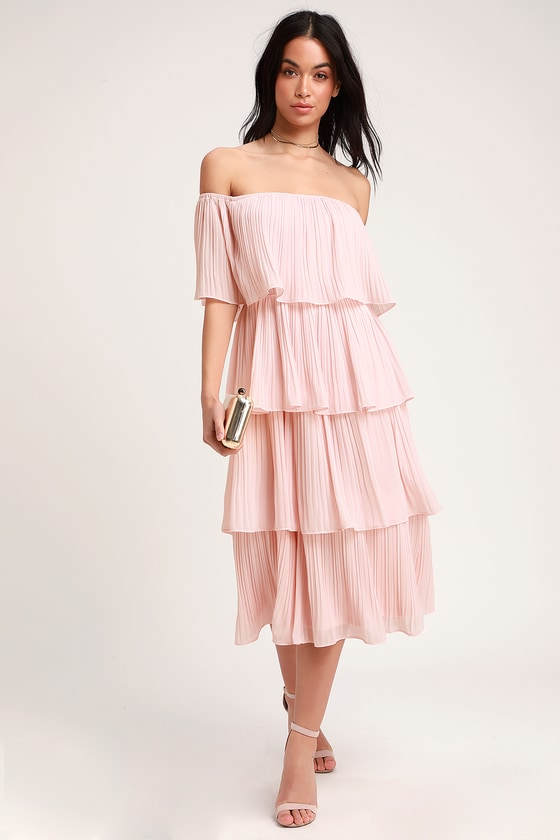 Gala Ready Blush Pink Off-the-Shoulder Ruffle Midi Dress