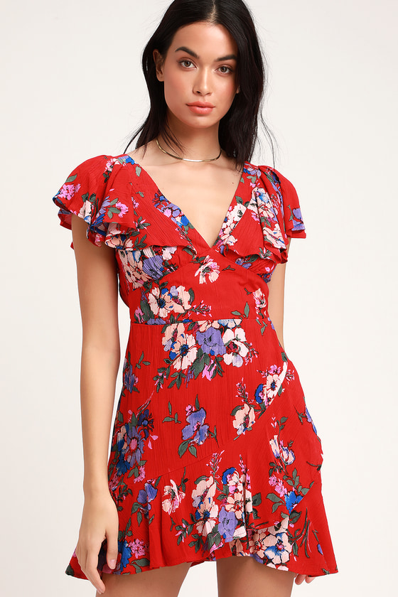 9985f85e43 Band of Gypsies Maldives - Red Floral Print Dress - Ruffled Dress