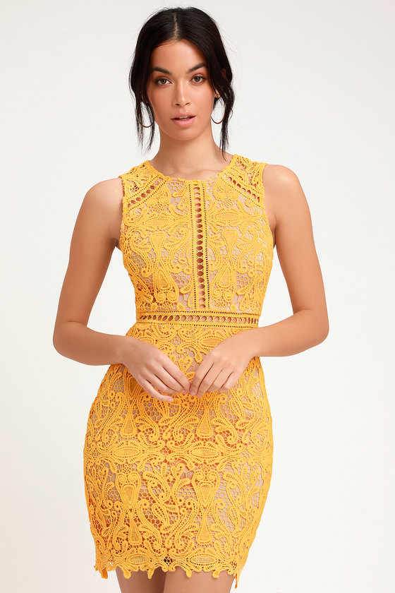 Dream Life Yellow Lace Bodycon Dress