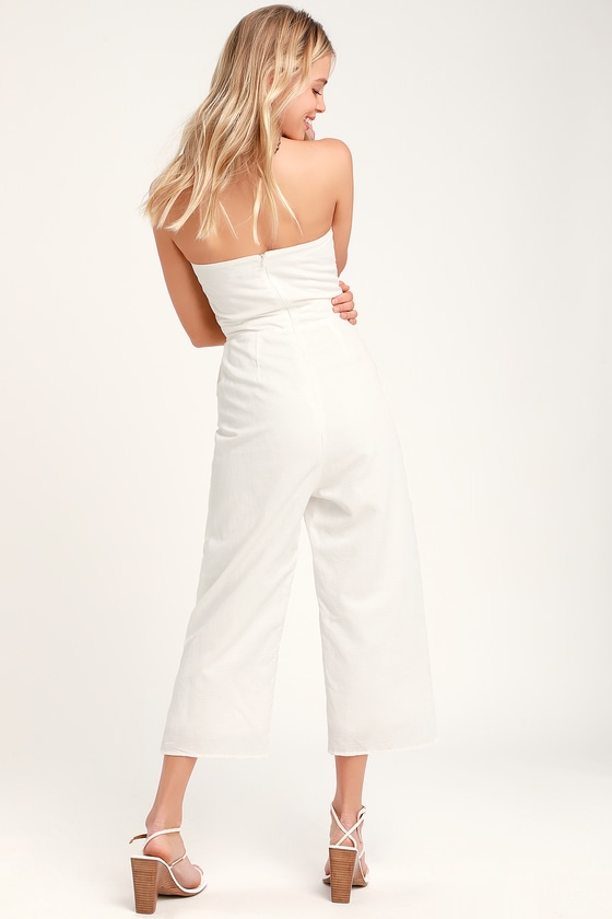 69580e1414a Cute White Jumpsuit - Strapless Jumpsuit - Culotte Jumpsuit