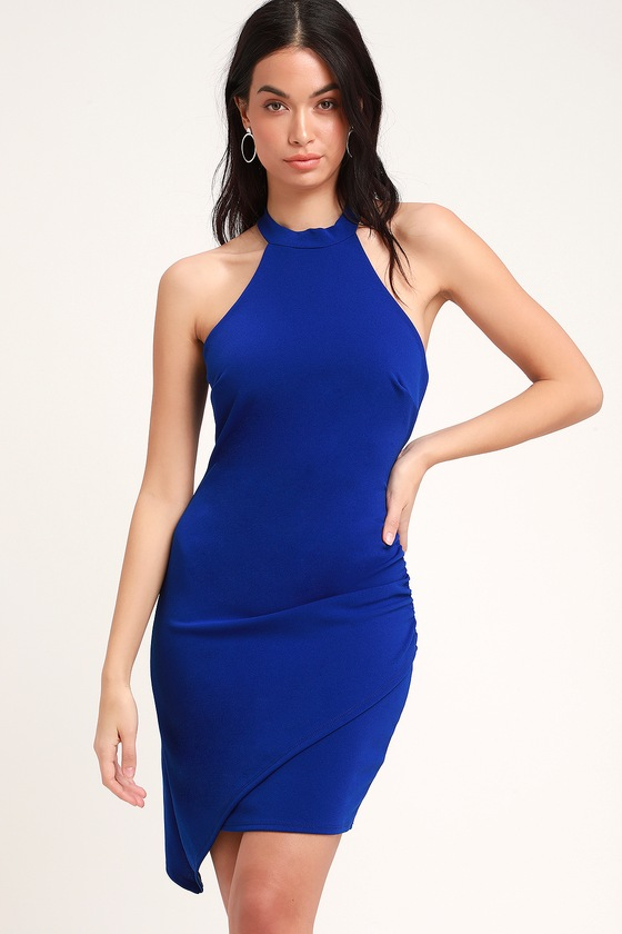 You Can't Ruche Love Royal Blue Ruched Bodycon Halter Dress by Lulus