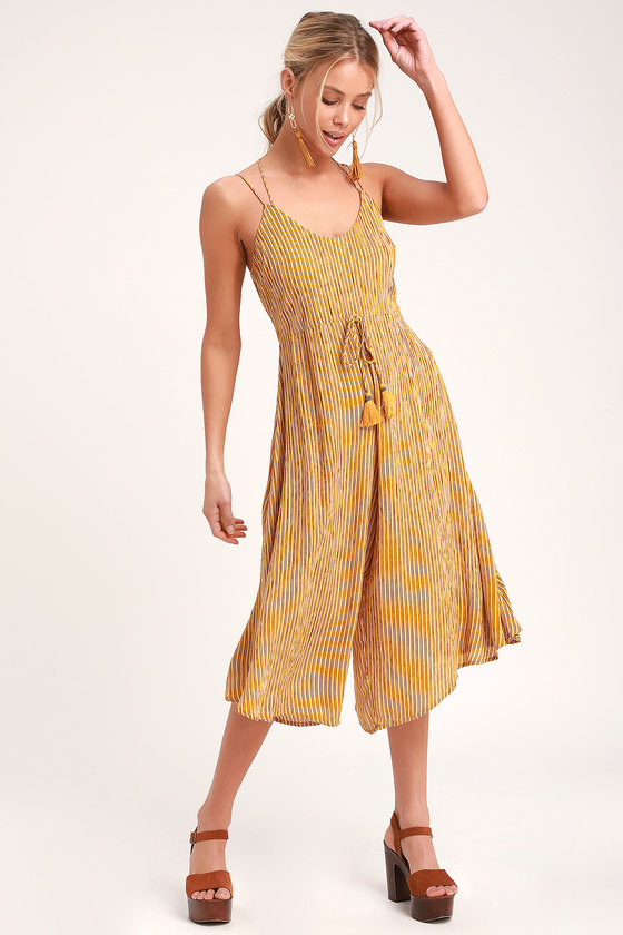 Band of Gypsies PARIS MUSTARD YELLOW STRIPED CULOTTE JUMPSUIT
