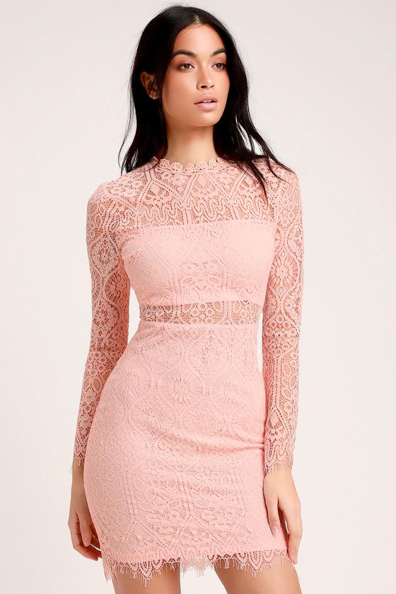 e143ed6e493 Sexy Blush Pink Dress - Blush Lace Dress - Long Sleeve Lace Dress