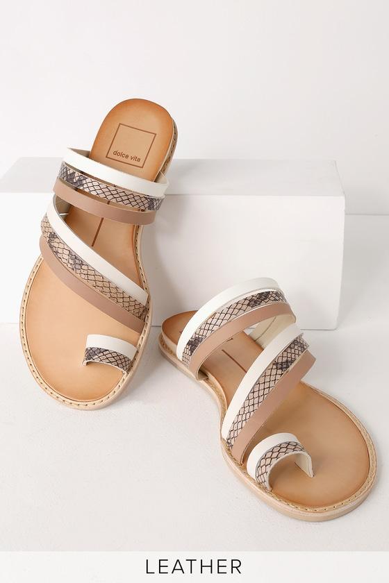 7358991c5a6 Dolce Vita Nelly - White Multi Sandals - Flat Sandals