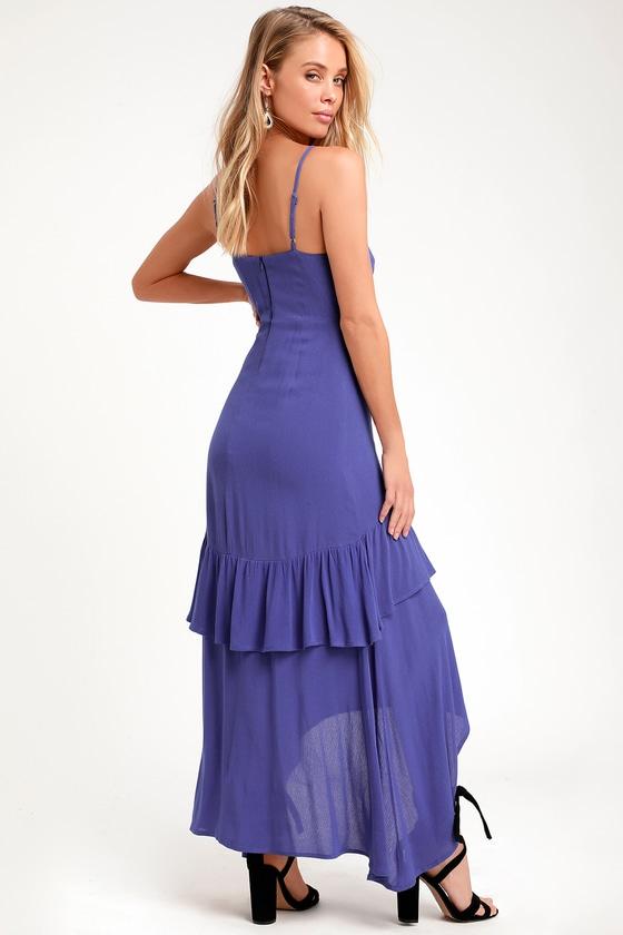 2ea11c6a23b3 Washed Royal Blue Dress - Midi Dress - Sleeveless Dress