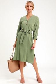 054f13d1acb40e Others Follow Abigail - Sage Green Denim Overall Dress - Skirtall