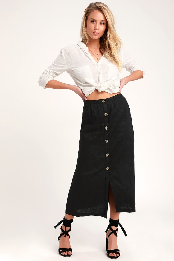 eb3593db2e Rhythm Amalfi - Washed Black Skirt - Button-Up Skirt - Midi Skirt