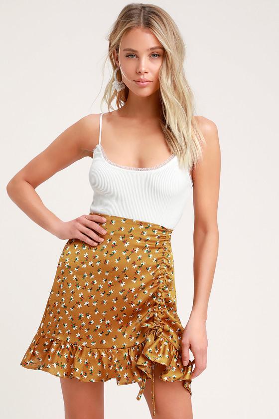 9556b1ba4fab Pretty Mustard Yellow Floral Print Skirt - Ruched Mini Skirt