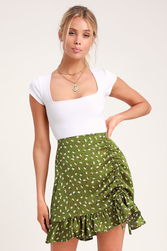 5ad4d9cd24 Green Floral Print Skirt - Ruched Skirt - Ruched Mini Skirt