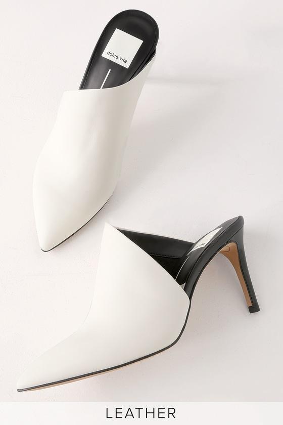 960252bfbdcf Dolce Vita Camala - Off White Leather Mules - Pointed Toe Mules