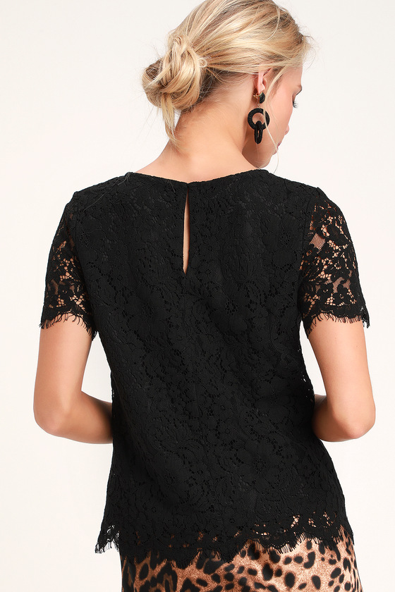 70cb303e0f0 Cute Black Top - Black Lace Top - Black Lace Blouse - Lace Blouse