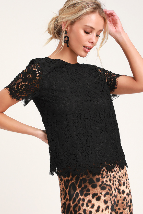 bdc2b387ab6a98 Cute Black Top - Black Lace Top - Black Lace Blouse - Lace Blouse