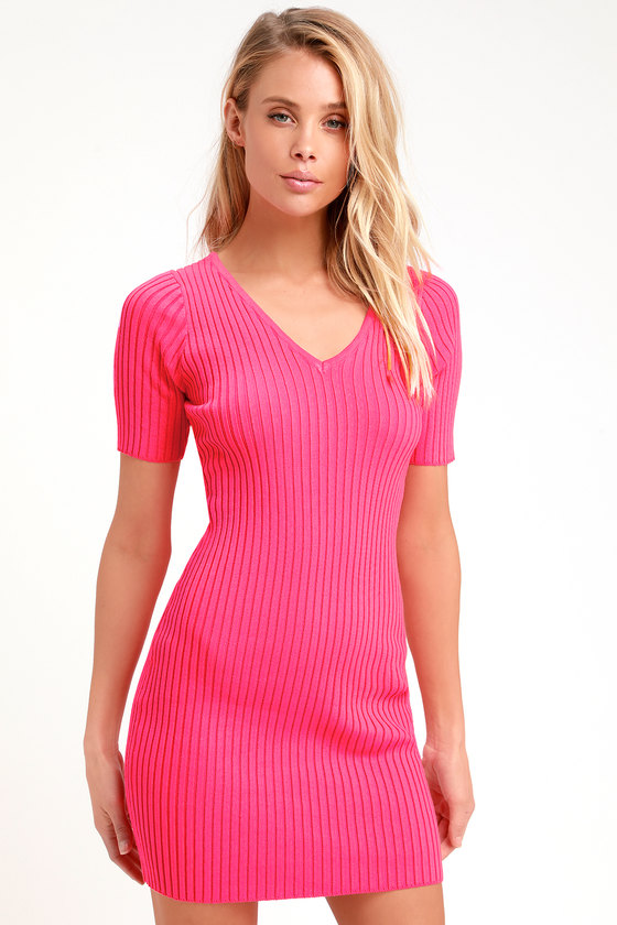 Chic Hot Pink Dress Ribbed Knit Dress Ribbed Bodycon Dress