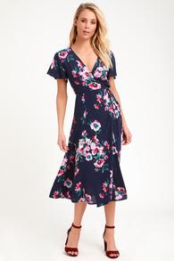 3cc50b9d8345 Lost + Wander Blue Moon - Blue Floral Satin Dress - Midi Dress