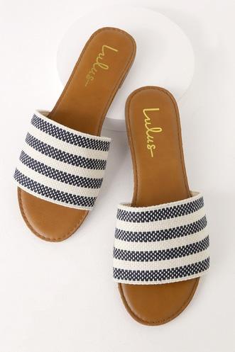 d54237232fc Addison Navy Striped Slide Sandals