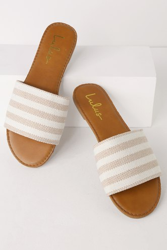 772f6fc3ebd Addison Tan Striped Slide Sandals