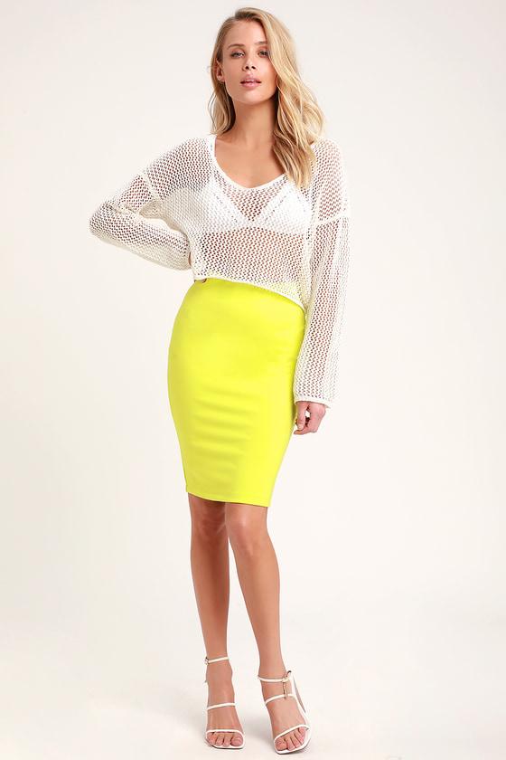 2a33f15f64 Sexy Bodycon Skirt - Lime Green Skirt - Pencil Skirt